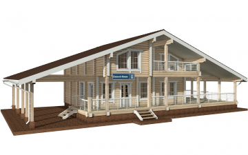 Фото #1: деревянный дом ПДБ-10 из клееного бруса купить за 10753000 (цена «Под ключ»)