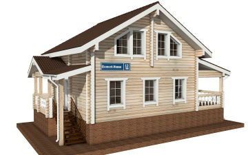 Фото #1: деревянный дом ПДБ-12 из клееного бруса купить за 6294000 (цена «Под ключ»)