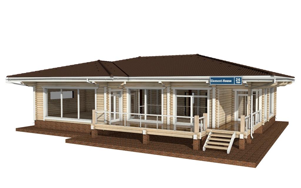 Фото #1: деревянный дом ПДБ-26 из клееного бруса купить за 10000000 (цена «Под ключ»)