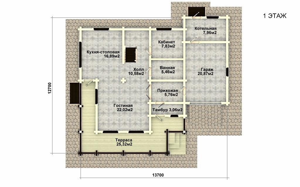 Фото #4: деревянный дом ПДБ-28 из клееного бруса купить за 10822000 (цена «Под ключ»)