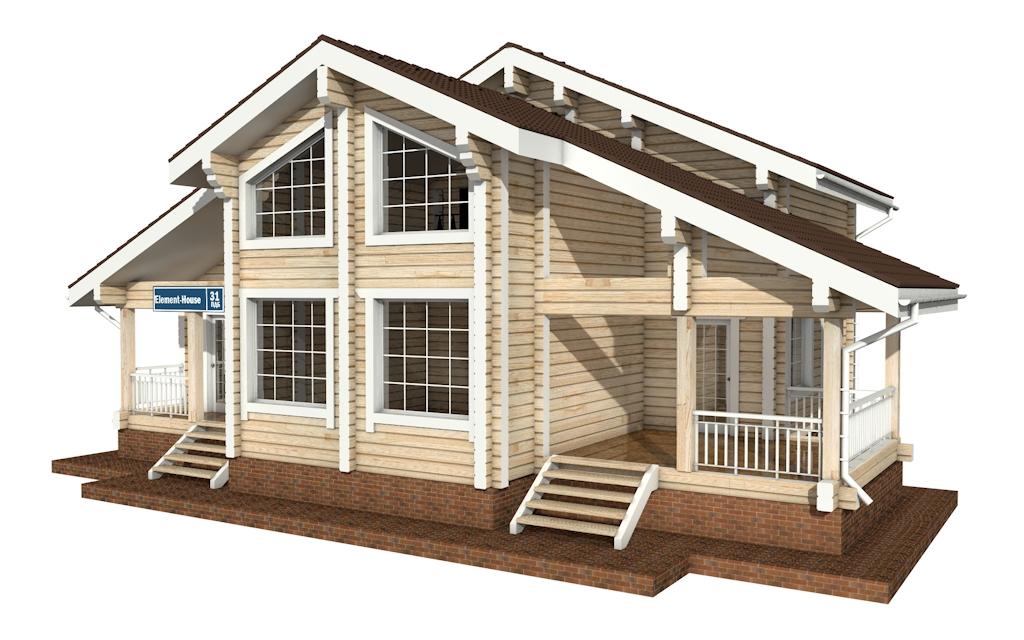 Фото #2: деревянный дом ПДБ-31 из клееного бруса купить за 10892000 (цена «Под ключ»)