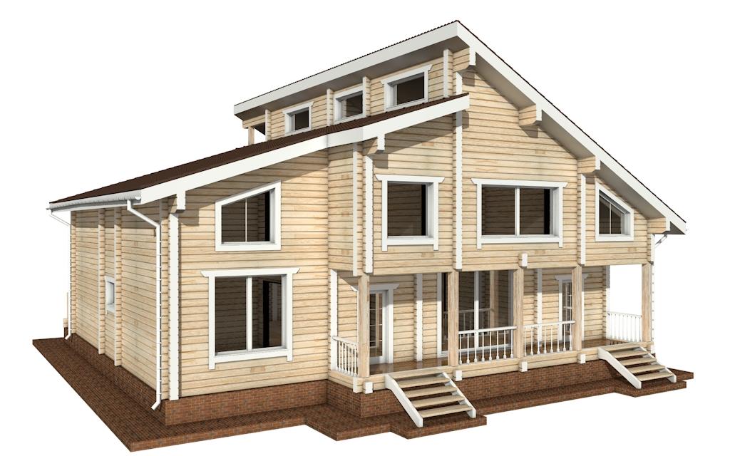 Фото #3: деревянный дом ПДБ-18 из клееного бруса купить за 15318000 (цена «Под ключ»)