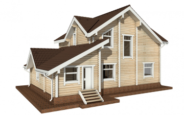 Фото #3: деревянный дом ПДБ-28 из клееного бруса купить за 10822000 (цена «Под ключ»)