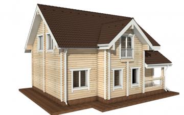 Фото #1: деревянный дом ПДБ-7 из клееного бруса купить за 10436000 (цена «Под ключ»)