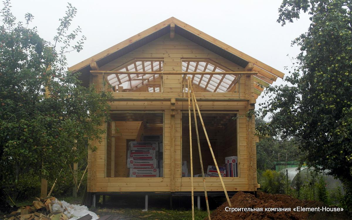 Фото: Двухэтажный дом из клеёного бруса в Калуге
