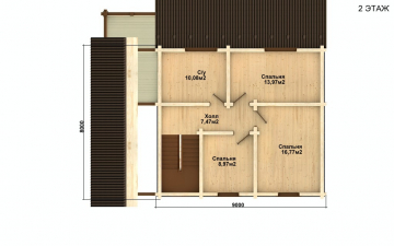 Фото #3: деревянный дом ПДБ-25 из клееного бруса купить за 9255000 (цена «Под ключ»)