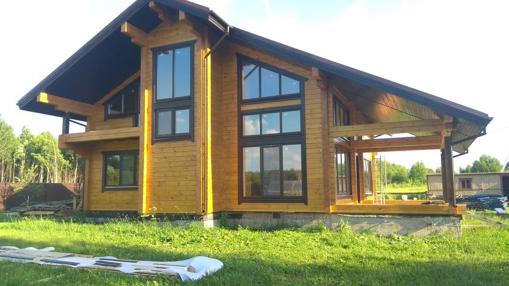Фото: Дом шале из клеёного бруса в Ступинском районе Московской области д. Михнево