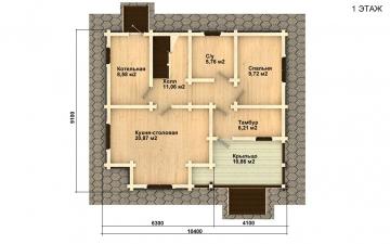 Фото #2: деревянный дом ПДБ-21 из клееного бруса купить за 9469000 (цена «Под ключ»)