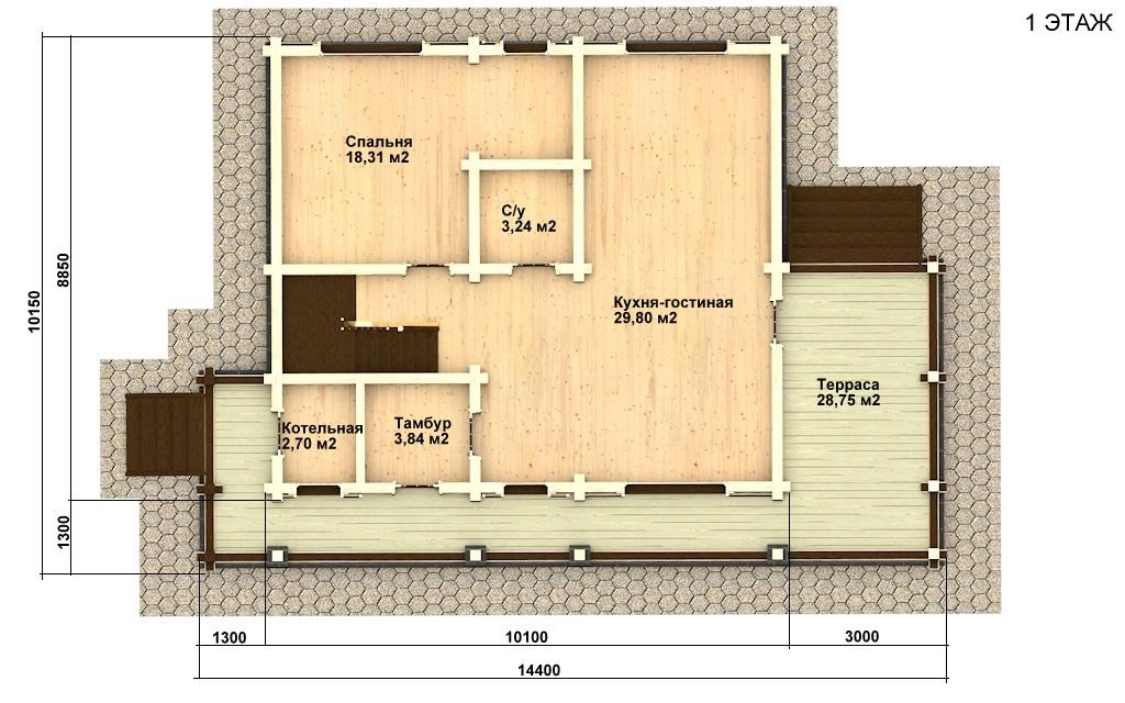 Фото #2: деревянный дом ПДБ-17 из клееного бруса купить за 10487000 (цена «Под ключ»)