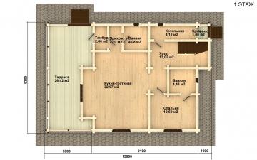 Фото #2: деревянный дом ПДБ-2 из клееного бруса купить за 11081000 (цена «Под ключ»)