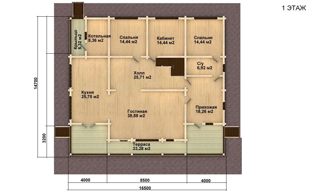 Фото #2: деревянный дом ПДБ-15 из клееного бруса купить за 17296000 (цена «Под ключ»)