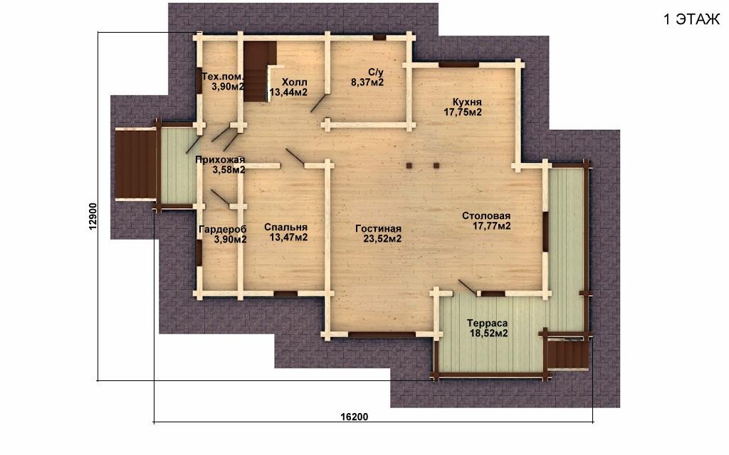 Фото #4: деревянный дом ПДБ-16 из клееного бруса купить за 12169000 (цена «Под ключ»)