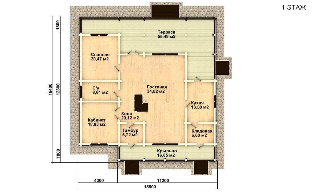 Фото #4: деревянный дом ПДБ-18 из клееного бруса купить за 15318000 (цена «Под ключ»)