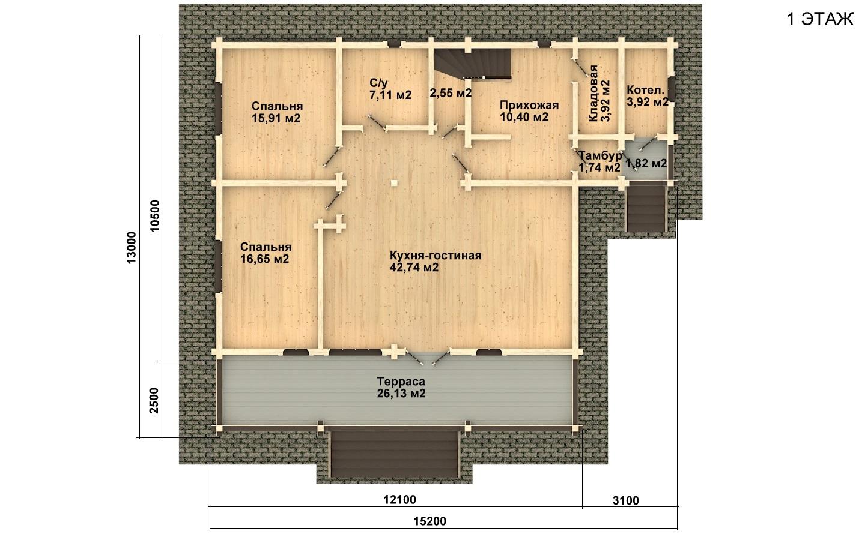 Фото #4: деревянный дом ПДБ-19 из клееного бруса купить за 11807000 (цена «Под ключ»)