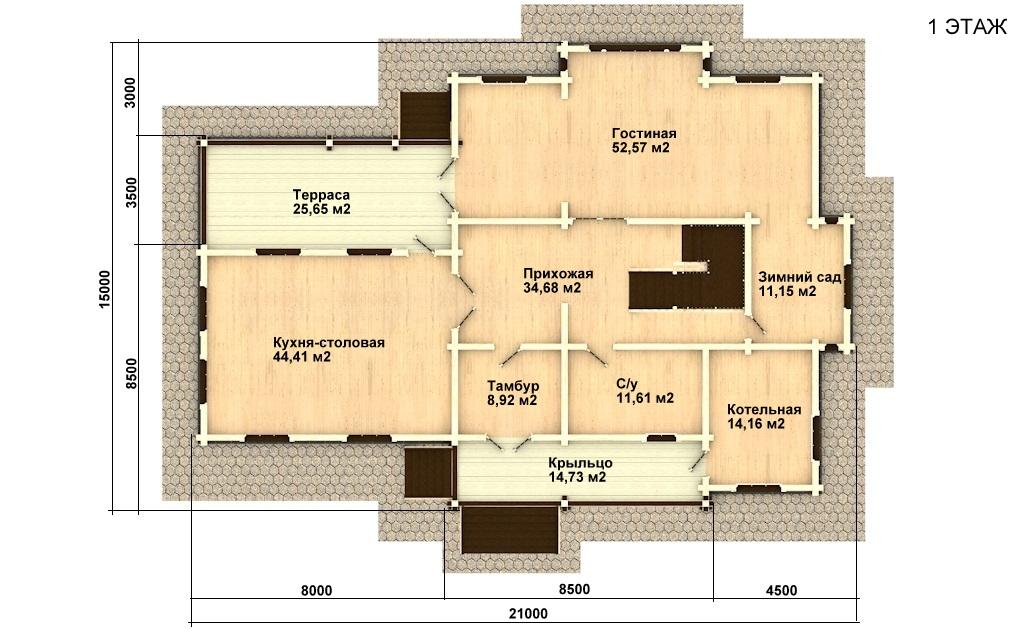 Фото #2: деревянный дом ПДБ-20 из клееного бруса купить за 15868000 (цена «Под ключ»)