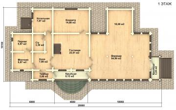 Фото #2: деревянный дом ПДБ-22 из клееного бруса купить за 11225000 (цена «Под ключ»)