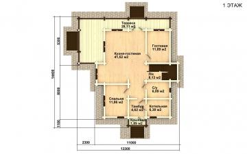 Фото #2: деревянный дом ПДБ-23 из клееного бруса купить за 11107000 (цена «Под ключ»)