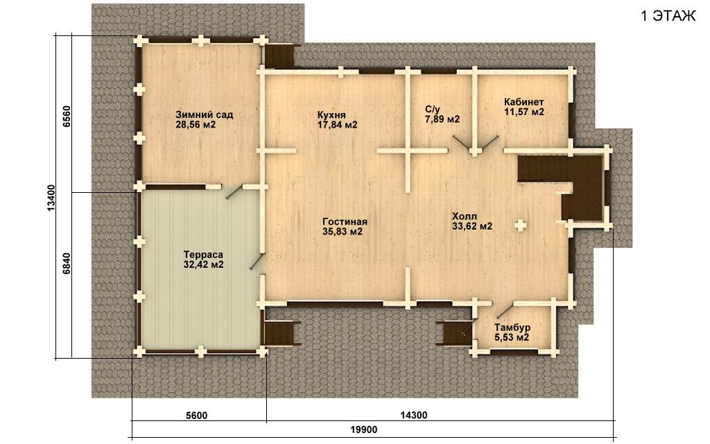 Фото #4: деревянный дом ПДБ-24 из клееного бруса купить за 14757000 (цена «Под ключ»)