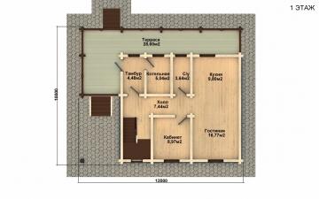 Фото #2: деревянный дом ПДБ-25 из клееного бруса купить за 9255000 (цена «Под ключ»)