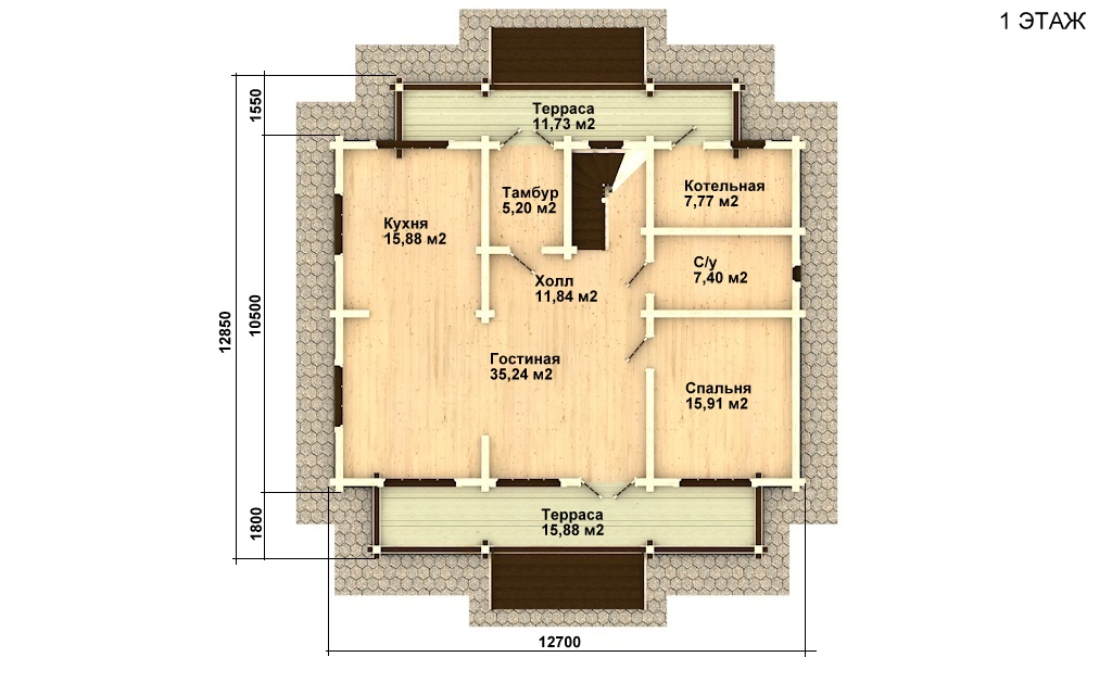 Фото #4: деревянный дом ПДБ-29 из клееного бруса купить за 12475000 (цена «Под ключ»)