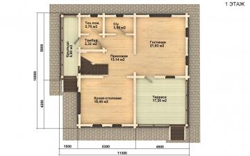 Фото #4: деревянный дом ПДБ-3 из клееного бруса купить за 9321000 (цена «Под ключ»)