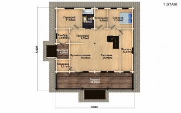 Фото #2: деревянный дом ПДБ-30 из клееного бруса купить за 10828000 (цена «Под ключ»)