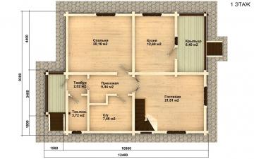 Фото #2: деревянный дом ПДБ-4 из клееного бруса купить за 10471000 (цена «Под ключ»)