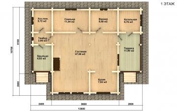 Фото #2: деревянный дом ПДБ-1 из клееного бруса купить за 9637000 (цена «Под ключ»)