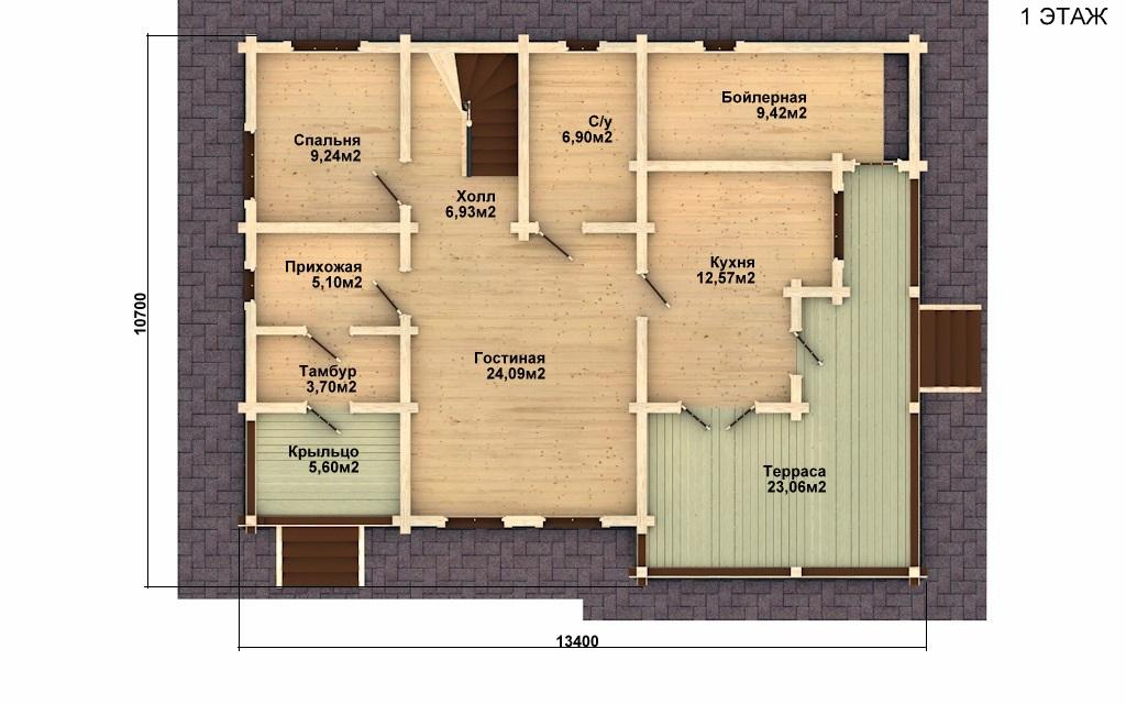Фото #2: деревянный дом ПДБ-5 из клееного бруса купить за 11075000 (цена «Под ключ»)