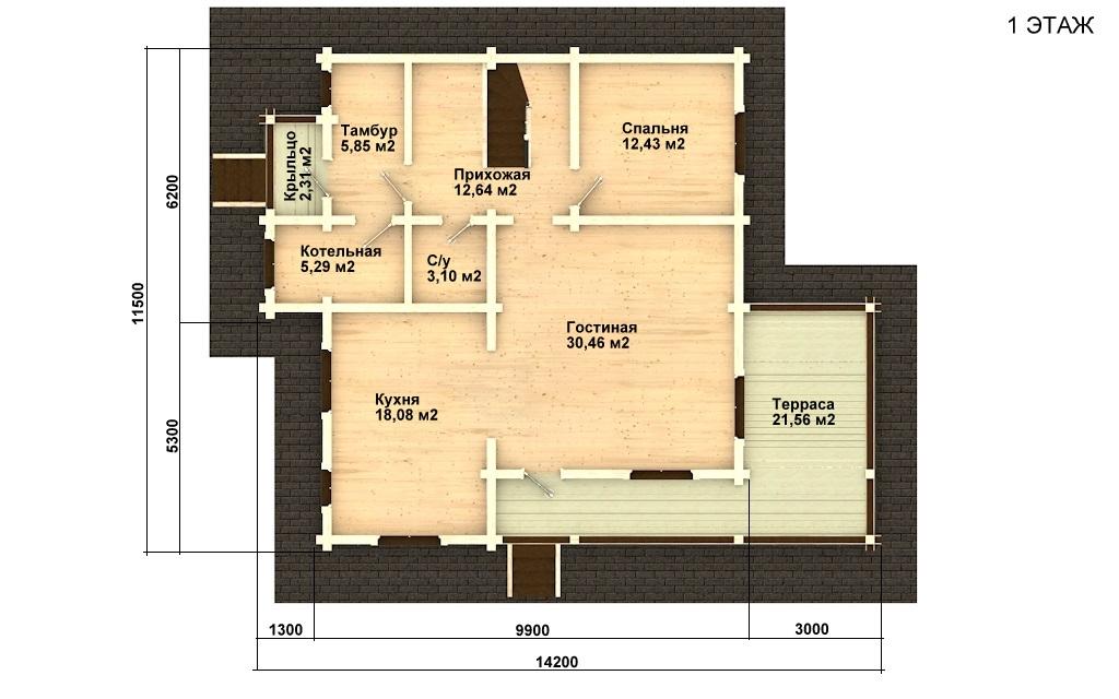 Фото #4: деревянный дом ПДБ-8 из клееного бруса купить за 11035000 (цена «Под ключ»)