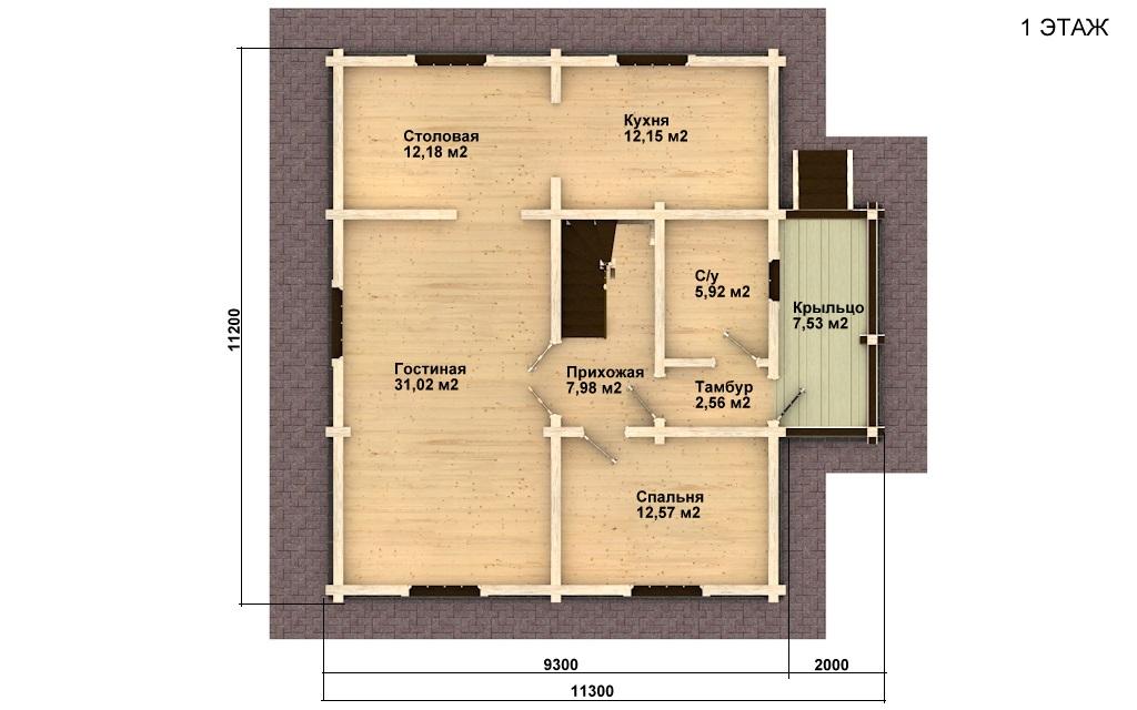 Фото #2: деревянный дом ПДБ-9 из клееного бруса купить за 10234000 (цена «Под ключ»)