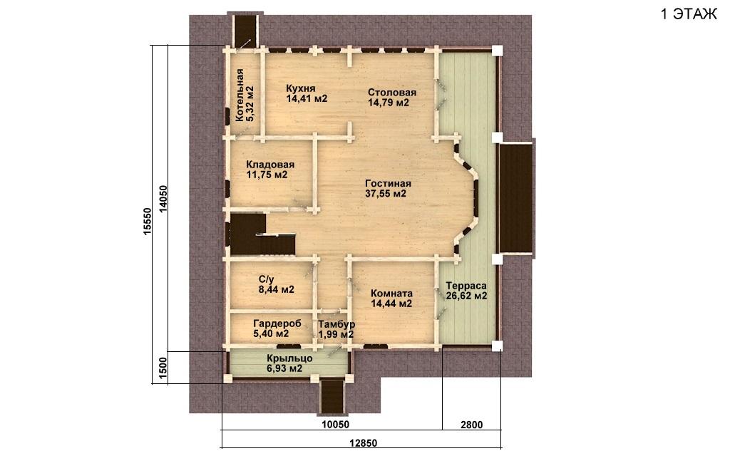 Фото #4: деревянный дом ПДБ-11 из клееного бруса купить за 11765000 (цена «Под ключ»)