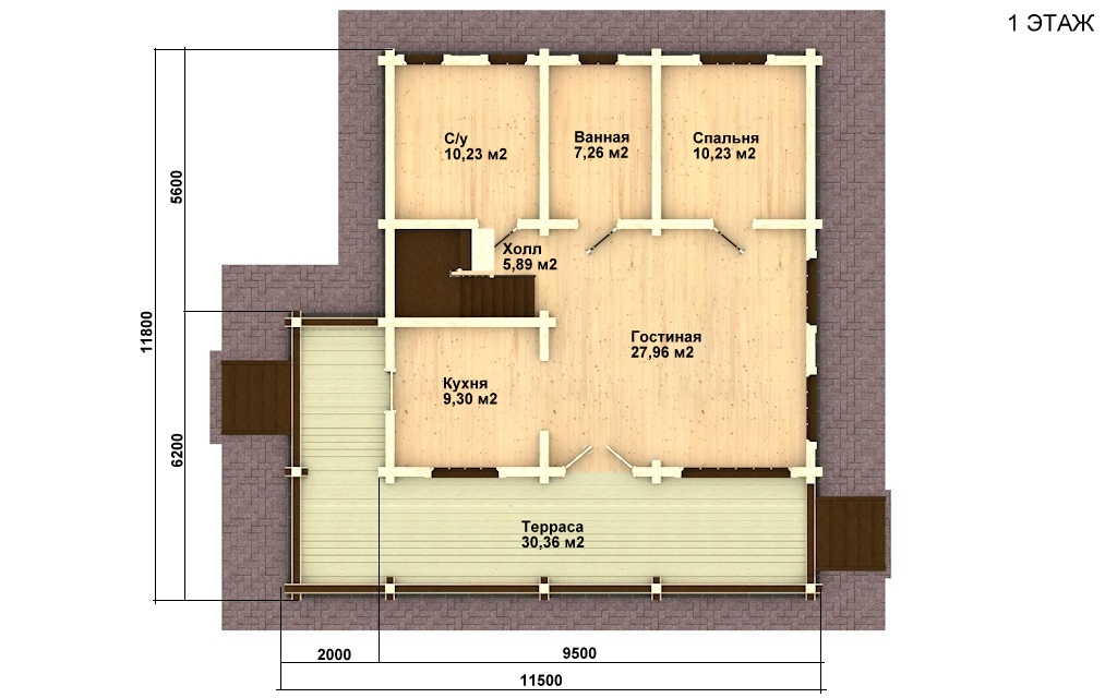 Фото #4: деревянный дом ПДБ-13 из клееного бруса купить за 8773000 (цена «Под ключ»)