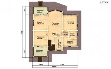 Фото #4: деревянный дом ПДБ-14 из клееного бруса купить за 13633000 (цена «Под ключ»)