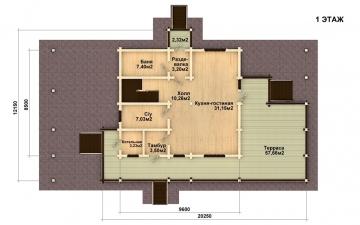 Фото #2: деревянный дом ПДБ-10 из клееного бруса купить за 10753000 (цена «Под ключ»)