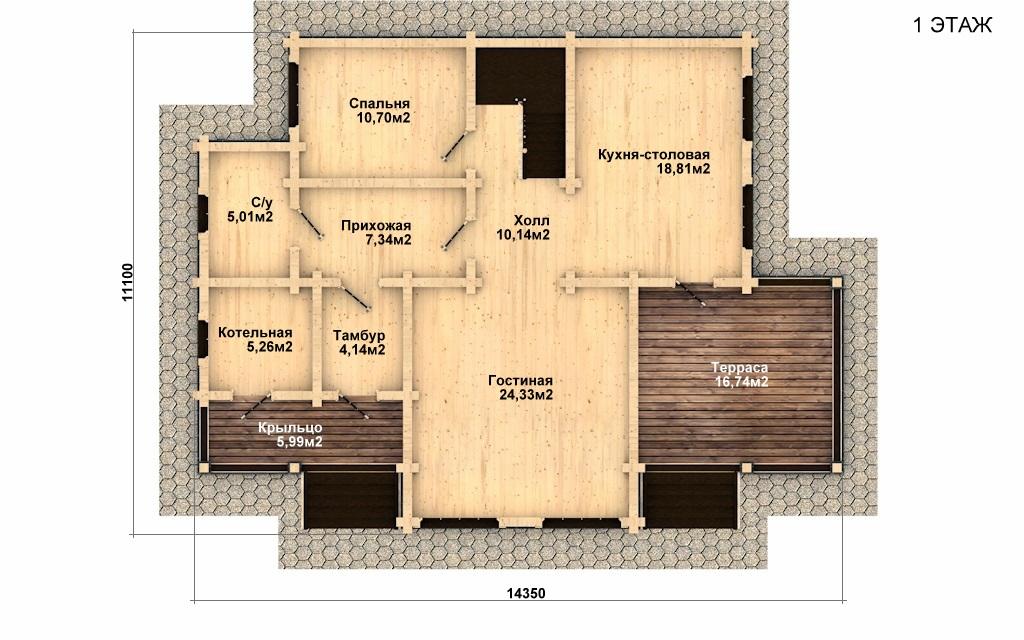 Фото #4: деревянный дом ПДБ-31 из клееного бруса купить за 10892000 (цена «Под ключ»)