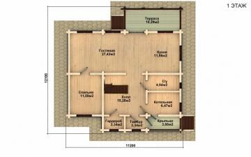 Фото #2: деревянный дом ПДБ-7 из клееного бруса купить за 10436000 (цена «Под ключ»)