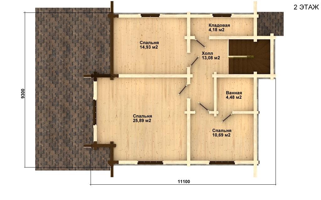 Фото #3: деревянный дом ПДБ-2 из клееного бруса купить за 11081000 (цена «Под ключ»)