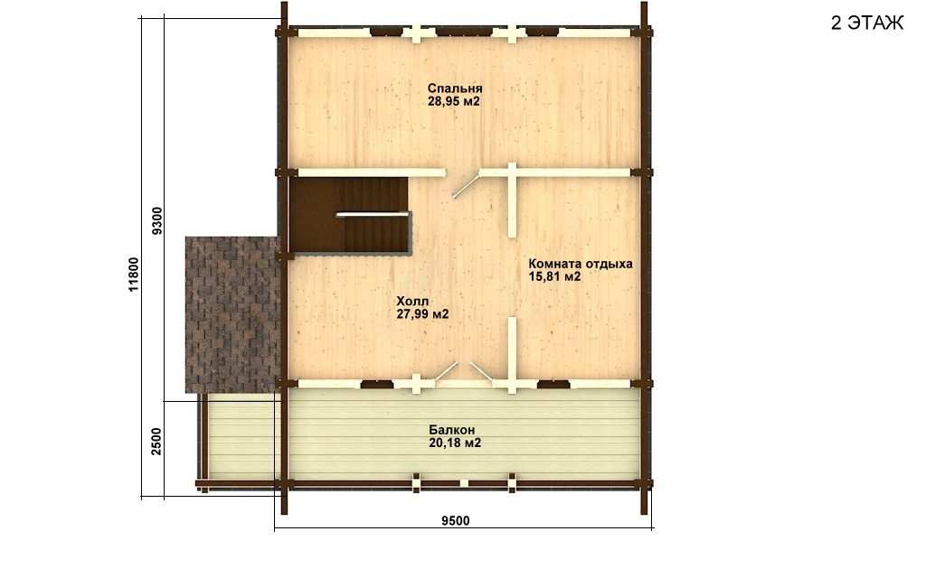 Фото #5: деревянный дом ПДБ-13 из клееного бруса купить за 8773000 (цена «Под ключ»)