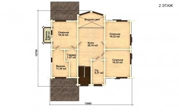 Фото #5: деревянный дом ПДБ-14 из клееного бруса купить за 13633000 (цена «Под ключ»)