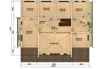 Фото #3: деревянный дом ПДБ-15 из клееного бруса купить за 17296000 (цена «Под ключ»)