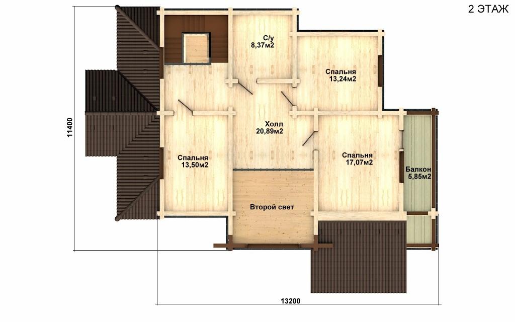 Фото #5: деревянный дом ПДБ-16 из клееного бруса купить за 12169000 (цена «Под ключ»)
