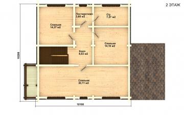 Фото #3: деревянный дом ПДБ-17 из клееного бруса купить за 10487000 (цена «Под ключ»)