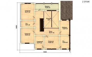 Фото #5: деревянный дом ПДБ-18 из клееного бруса купить за 15318000 (цена «Под ключ»)
