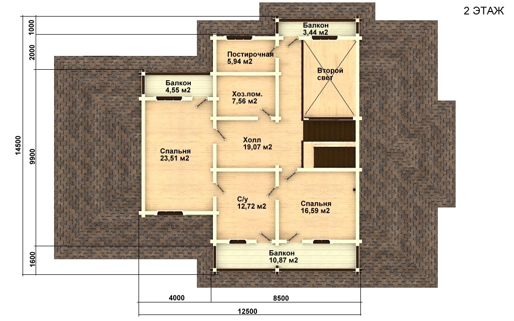 Фото #3: деревянный дом ПДБ-20 из клееного бруса купить за 15868000 (цена «Под ключ»)