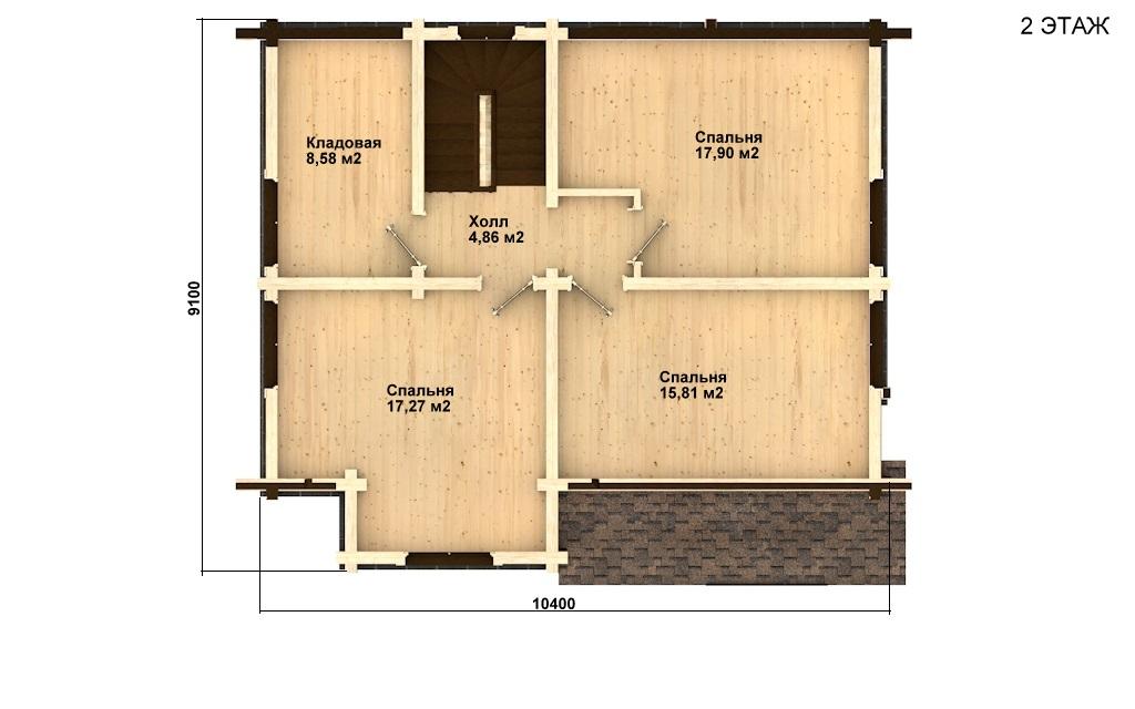 Фото #3: деревянный дом ПДБ-21 из клееного бруса купить за 9469000 (цена «Под ключ»)