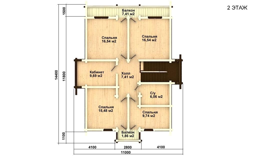 Фото #3: деревянный дом ПДБ-23 из клееного бруса купить за 11107000 (цена «Под ключ»)