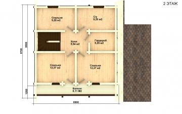 Фото #3: деревянный дом ПДБ-27 из клееного бруса купить за 8343000 (цена «Под ключ»)
