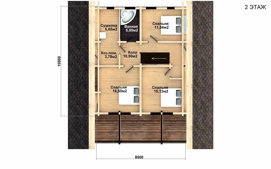 Фото #3: деревянный дом ПДБ-30 из клееного бруса купить за 10828000 (цена «Под ключ»)