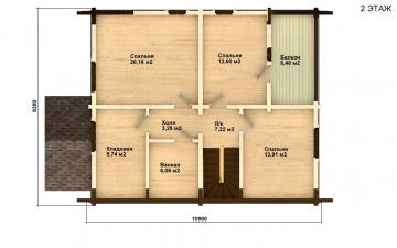 Фото #3: деревянный дом ПДБ-4 из клееного бруса купить за 10471000 (цена «Под ключ»)